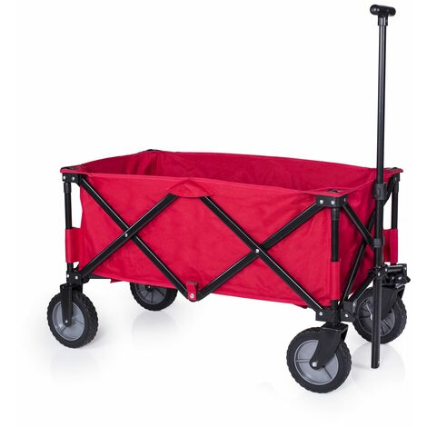 Chariot de jardin pliant Campart Travel HC-0911 – contenance de 70 kg – Rouge