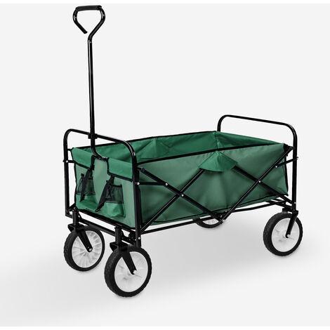 Chariot de jardin pliant pour le transport facile 4 roues 100 kg Temo