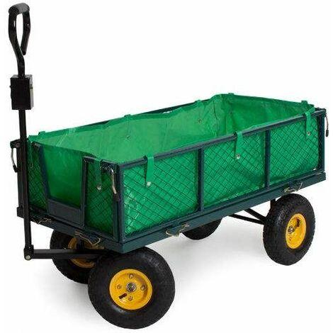 Varan Motors - TC1840A Chariot de jardin, remorque à main, avec bâche, cotés amovibles, Max 350Kg