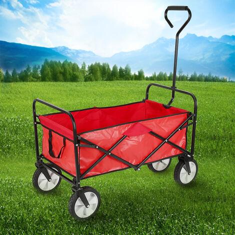 Chariot de Jardin, Remorque à Main, Chariot de Transport Pliable avec 4 Roues 117 x 53.5 x 95cm Rouge
