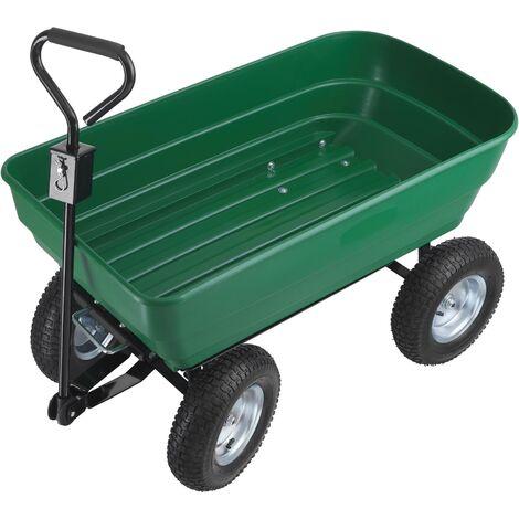 Chariot de jardin TUMMI 125L, 125 kg avec benne basculante - charrette à main, brouette 4 roues, remorque de transport - vert