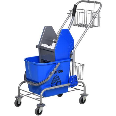 Chariot de lavage chariot de nettoyage professionnel en acier presse à mâchoire seau + rangements bleu