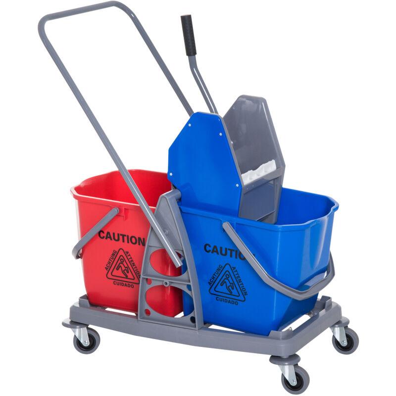 Chariot de lavage chariot de nettoyage professionnel presse à mâchoire 2 seaux 25 L 73L x 45l x 92H cm plastique gris bleu rouge - Gris