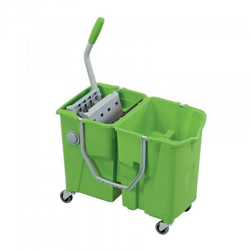 Ica.eu - ICA - Chariot bi-bac 2x 15 litres avec presse à plat intégrée robinet de vidange - Clevy