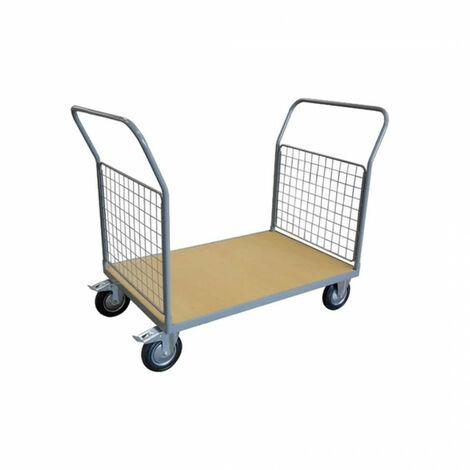 Chariot de manutention - plateau en bois - 2 dossiers - 500 kg