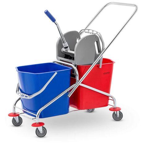 Chariot De Nettoyage Professionnel 2 Seaux Essoreur Serpillière Mop Bleu Rouge