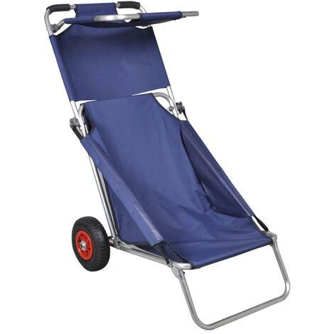 Chariot de plage avec roues portable et pliable Bleu