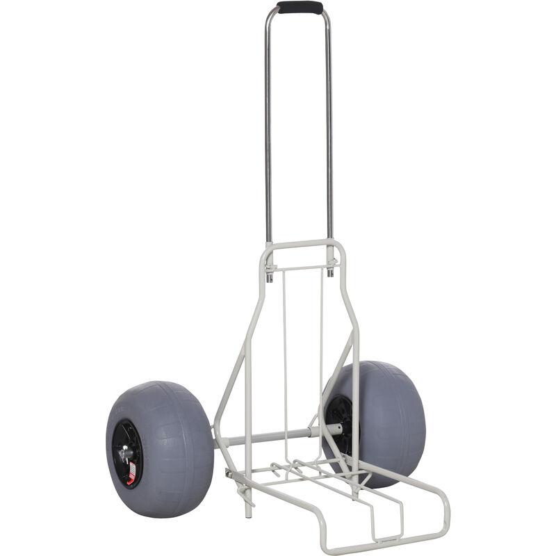 Outsunny - Chariot de plage pliable - chariot de transport pliable tout-terrain - manche télescopique - grandes roues basse pression