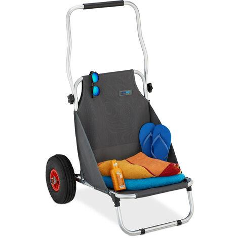 Chariot de plage, pliable, transat à roues, chaise longue portable, léger, 2 roues, chariot de transport, gris