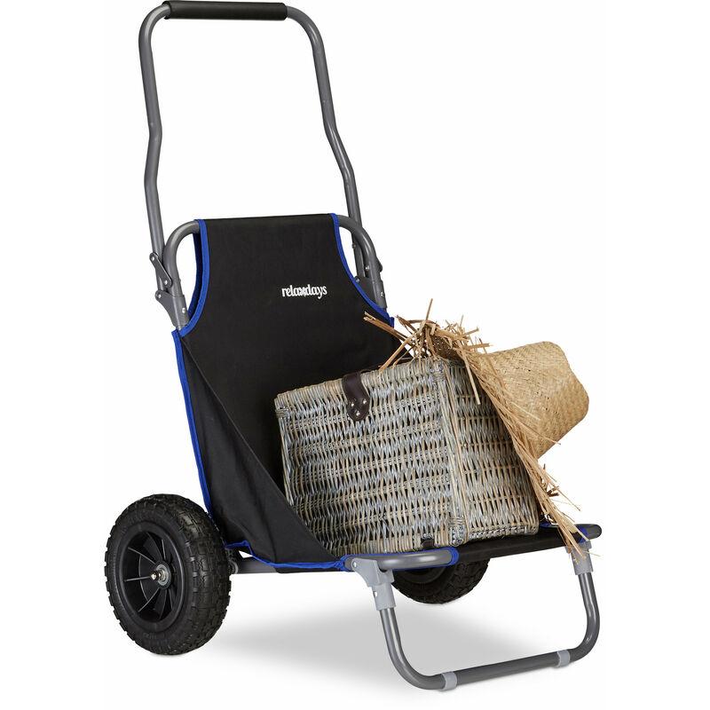 Chariot De Plage Pliant Chaise De Plage à Roulettes Jusqu à 100 Kg Transport Pour Plage Noir