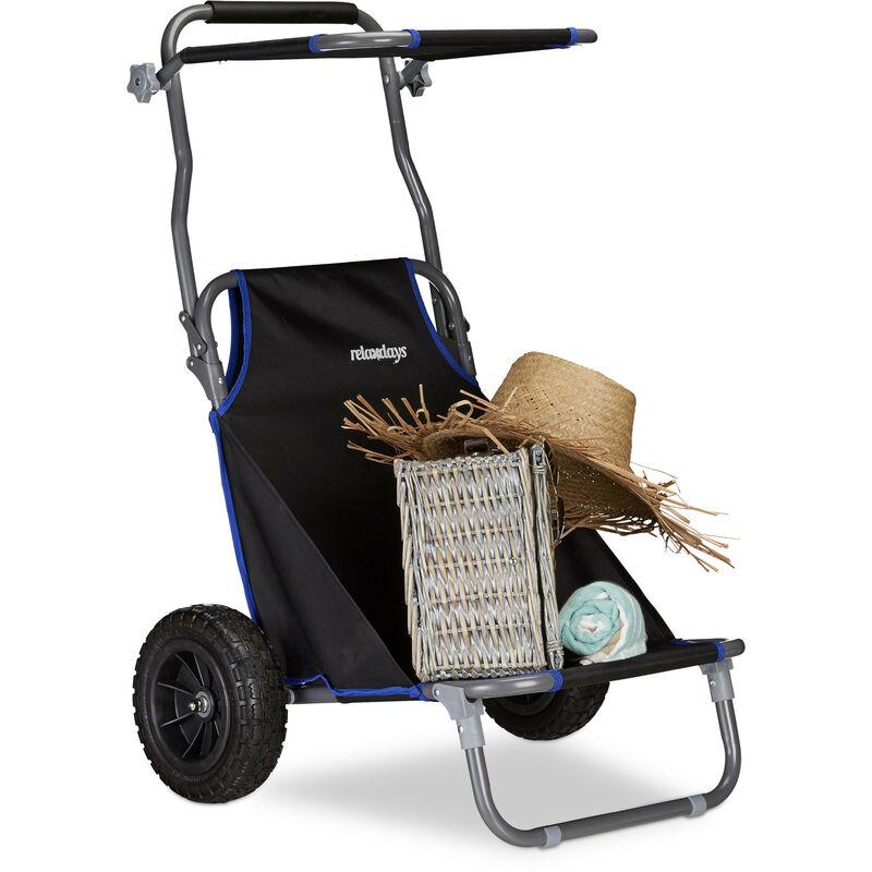 Relaxdays - Chariot de Plage Pliant, Chaise de Plage Auvent Roulettes Caoutchouc Transport Transat de Plage 100 kg, Noir
