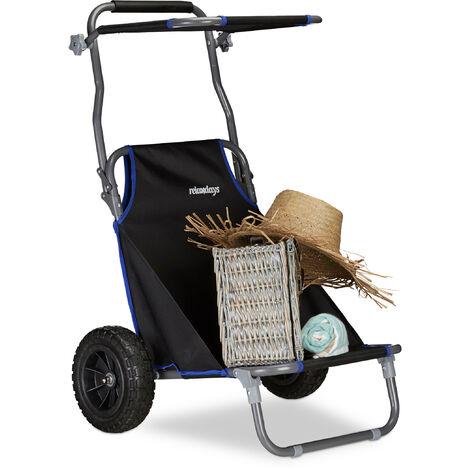 Chariot De Plage Pliant Chaise De Plage Auvent Roulettes Caoutchouc Transport Transat De Plage 100 Kg Noir 1100209981180