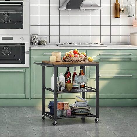 Chariot de Service à 3 Niveaux, Chariot/Desserte de Cuisine de Style Industriel, Cadre Métallique - Meerveil
