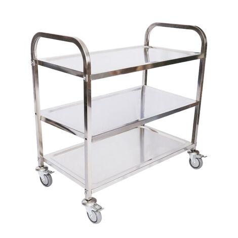 Chariot de service Acier affin� 3 �tag�res jusqu� 150kg Desserte Table servante mobile avec frein
