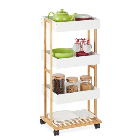 Chariot de service, bambou & MDF, Desserte de cuisine à 4 étages, 88 x 40 x 30 cm, naturel/blanc