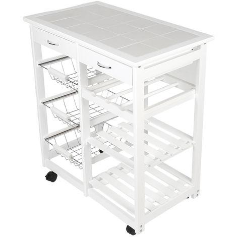 Chariot de service desserte à roulettes multi-rangements tiroirs étagères range bouteilles bois de cuisine à roulettes