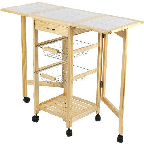 Chariot de service desserte à roulettes pliable multi-rangements tiroir étagère paniers plan travail en bois