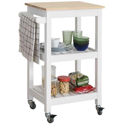 Chariot de Service Desserte à roulettes Table Roulante Cuisine avec 2 Étagères et 1 Porte-torchon FKW67-WN SoBuy®