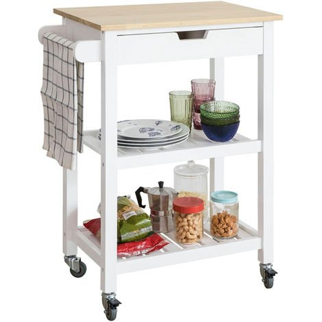 Chariot de Service Desserte à roulettes Table Roulante Cuisine avec 2 Étagères et 1 Tiroir FKW66-WN SoBuy®