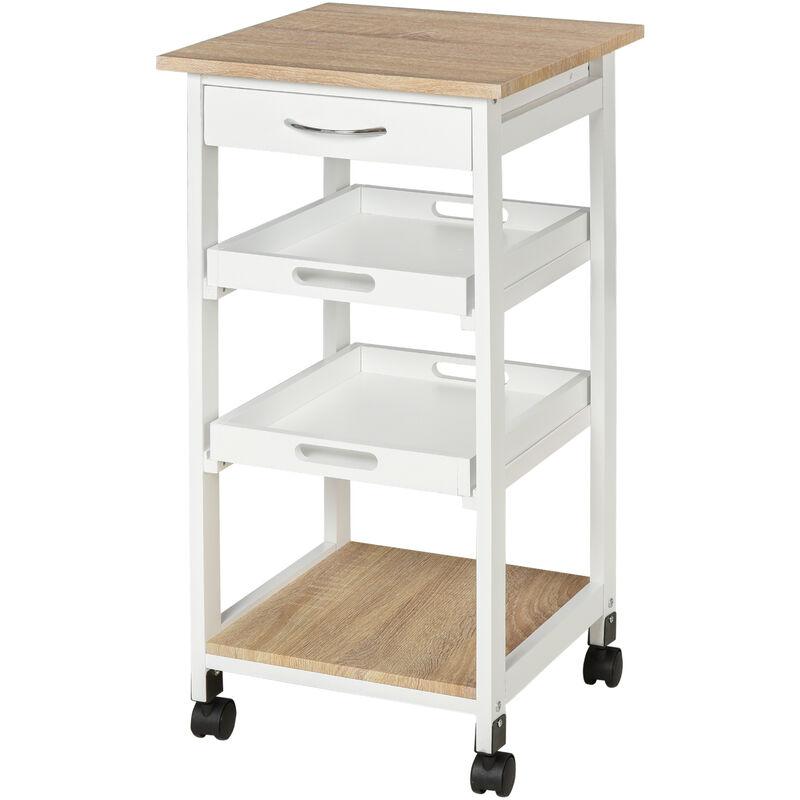 Chariot de service desserte de cuisine à roulettes 2 plateaux amovibles, tiroir, étagère MDF chêne clair bois pin blanc - Blanc