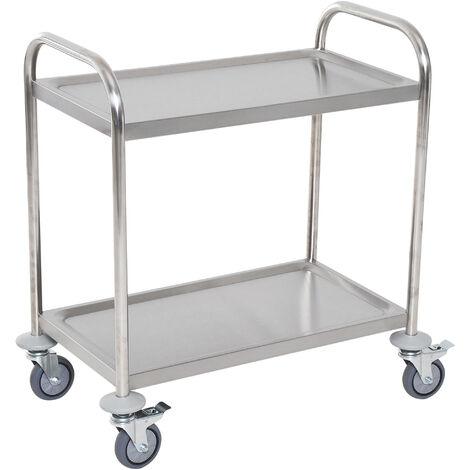 Chariot de service desserte de cuisine à roulettes 3 étagères 85L x 45l x 90H cm acier inox. chromé