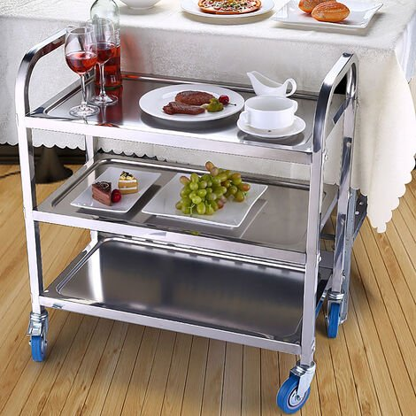 Chariot de service desserte de cuisine à roulettes 3 étagères 95L x 50l x 95H cm acier inox.