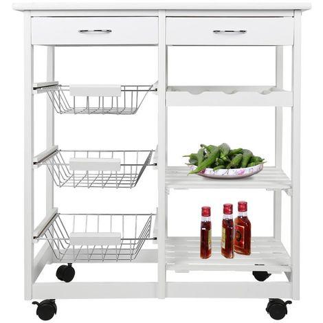 Chariot de service desserte de cuisine à roulettes multi-rangements 65L x 37l x 68H cm plateau 4 étages blanc deux tiroirs