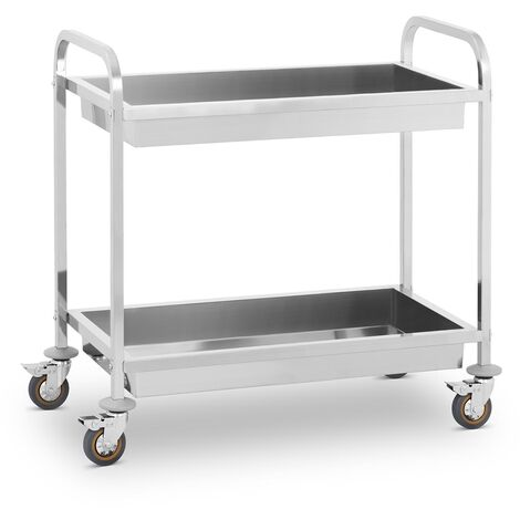 Chariot De Service Desserte Pro Cuisine Table Mobile Roulante Acier Inox 2 Cuves