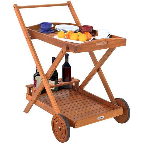 Chariot de service en bois d'Acacia avec Tablette / Plateau amovible Desserte