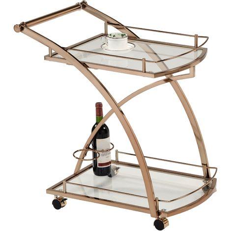 Chariot de service EVO chariot à thé et boisson desserte de cuisine à roulettes en métal doré 2 plateaux en verre trempé transparent