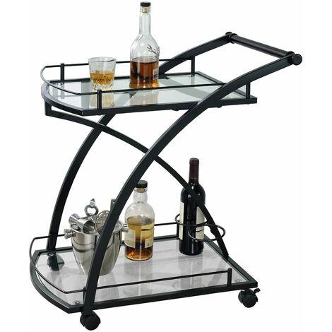 Chariot de service EVO chariot à thé et boisson desserte de cuisine à roulettes en métal noir, 2 plateaux en verre transparent