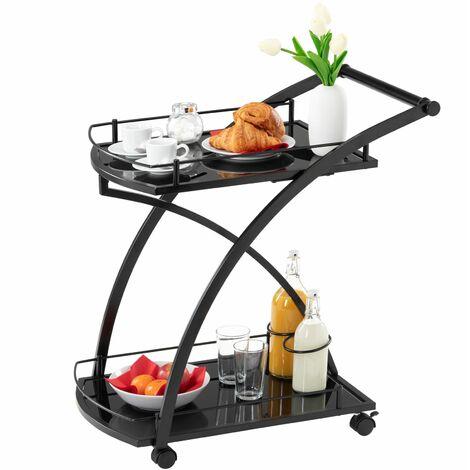Chariot de service EVO chariot à thé et boisson desserte de cuisine à roulettes en métal noir, 2 plateaux en verre trempé noir