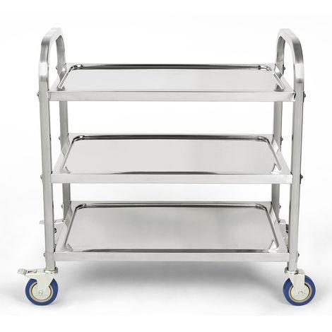 Chariot de service inox 3 plateaux , Chariot de Cuisine,avec Roues Verrouillables Faciles à Déplacer 95 * 55 * 95 cm