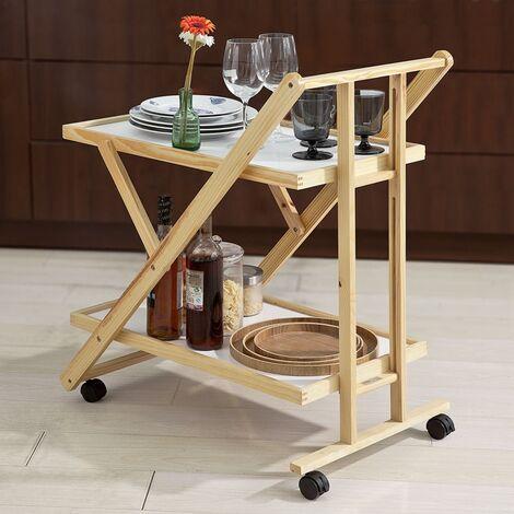 Chariot de service pliable sur roulettes 2 tablettes Desserte de cuisine roulante SoBuy® FKW52-WN