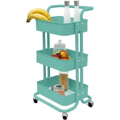 Chariot de service pour cuisine support de rangement roulant 3 niveaux beige