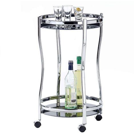 Chariot de service VEGA table d'appoint ronde sur roulettes chariot à thé et boisson en métal chromé 2 étagères en verre trempé noir