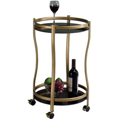 Chariot de service VEGA table d'appoint ronde sur roulettes chariot à thé et boisson en métal doré 2 étagères en verre trempé noir