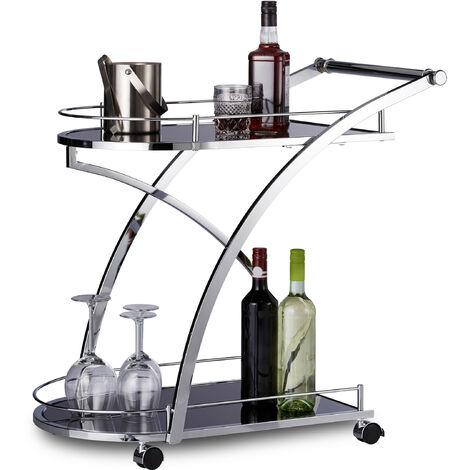 Chariot de service verre BARON design noir rond métal desserte cuisine HxlxP: 73 x 46 x 74 cm meuble service thé, noir