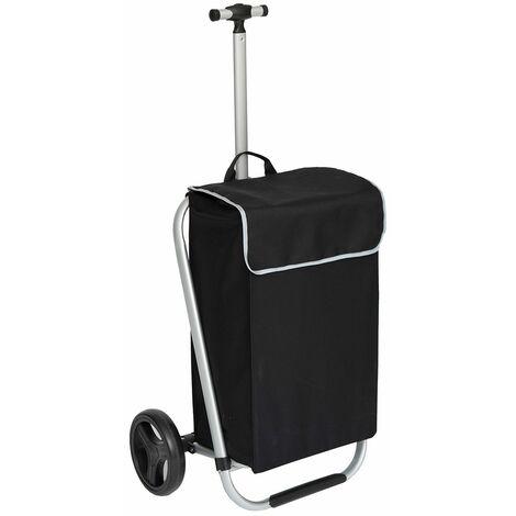 Chariot de shopping alu 2 roues Genio - Noir