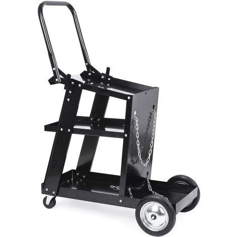 Chariot de Soudage Femor , Chariot d'Atelier pour Soudage au Plasma, avec Roue en Fer, Grand Espace de Rangement, Noir