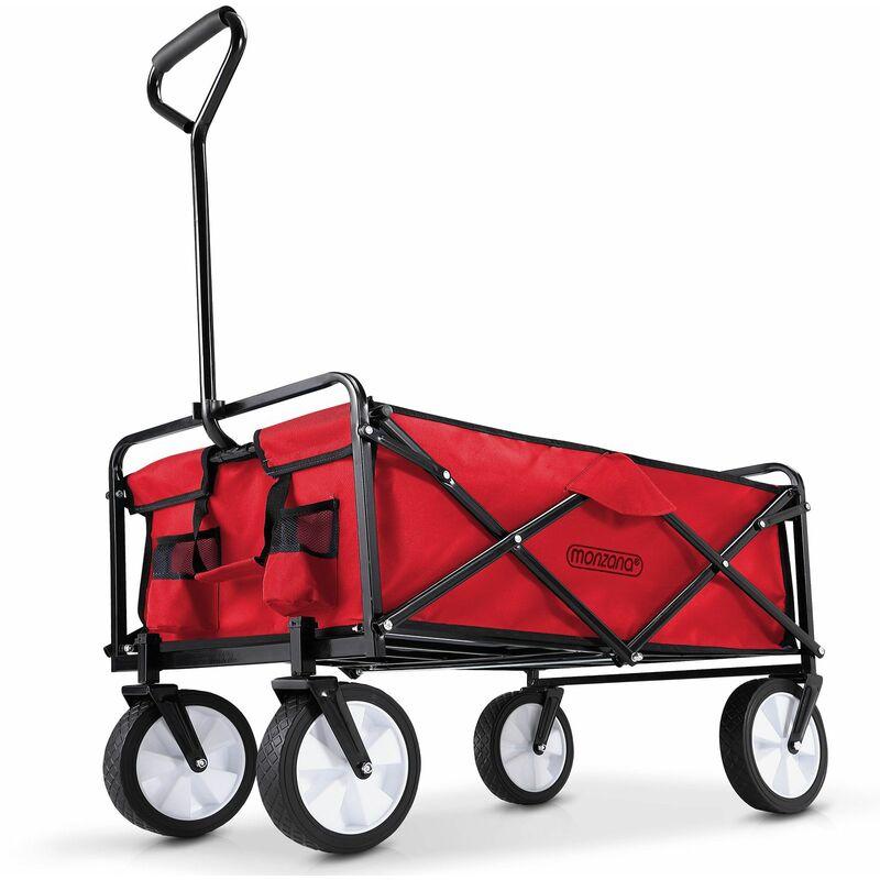 Chariot de jardin charrette à main rouge - Pliable - Chariot transport bricolage Rouge - DEUBA