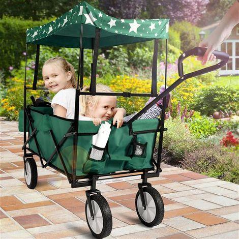 Chariot de Transport Chariot Remorque Pliable avec Roues Toit et Panier Vert