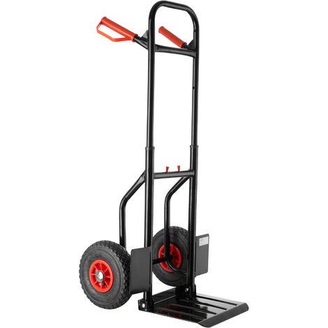 Chariot de Transport, Diable de Manutention Charge 100 Kg Pliable en Acier Roues Pneumatiques 53 cm x 49 cm x 112,5 cm Noir