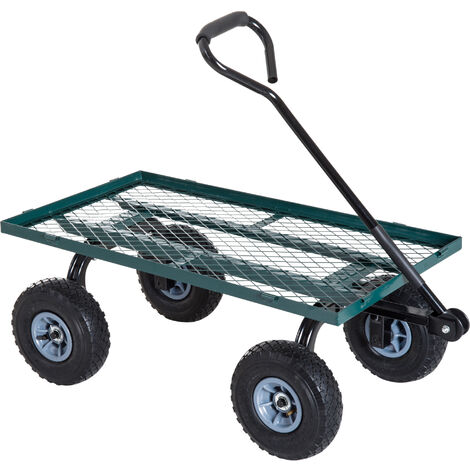 Chariot de transport jardin remorque à main charrette à bras 4 roues 98L x 45l x 85H cm charge max. 150 Kg acier vert