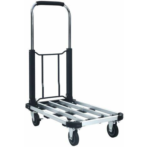 Chariot de transport pliable 150 kg Aluminium Argenté