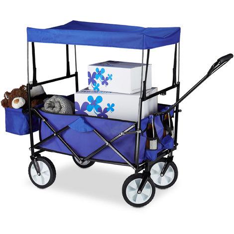 Chariot de transport pliable charrette pliante avec toît 360° pivotant poches HxlxP: 55 x 83 x 51,5 cm, bleu