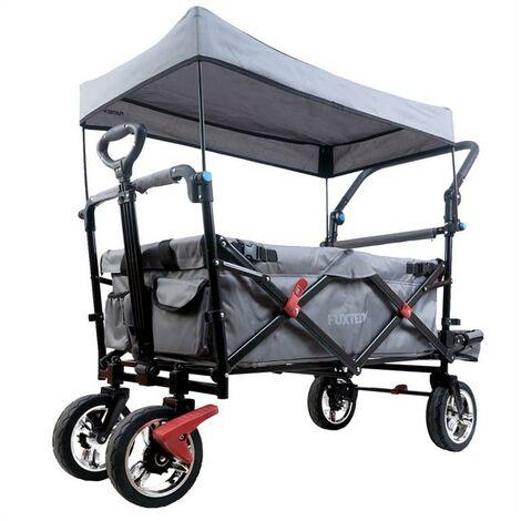 Chariot de transport pliable FUXTEC FX-CT800 avec toit anti-UV, poignée de poussée et extensibilité habitacle GRIS