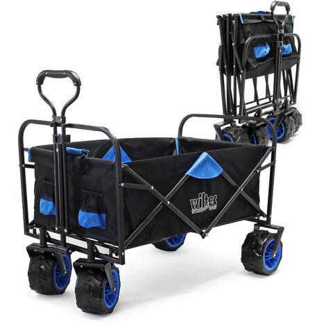 Chariot de transport pliable Larges roues Poignées Tout terrain Diable Jardin Randonnées PLage