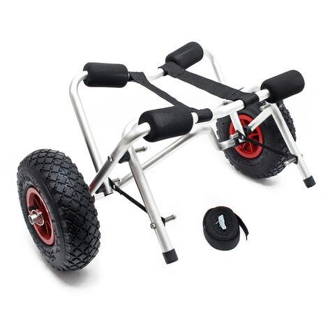 Chariot de transport pliable pour Kayak Canoë avec Sangle Remorque pour bâteau et Planche de surf