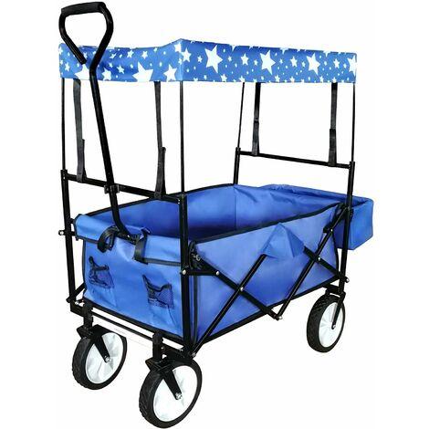 Chariot de transport pliable pratique remorque charrette jardin 115 x 55 cm bleu et noir